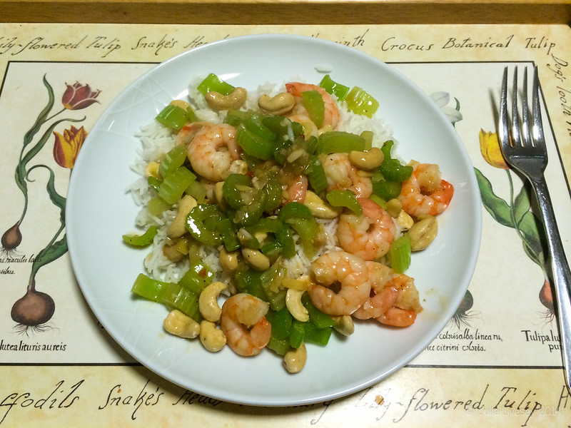 Dinner - Prawn, cashew & celery stir fry