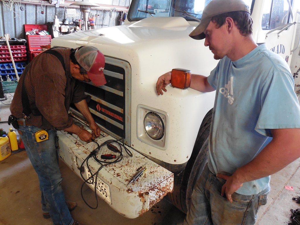Working on the service truck