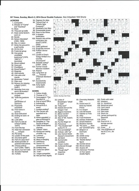 NYT Sunday Puzzle - March 2, 2014