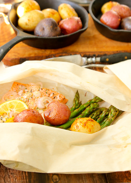 Hobo dinners, Salmon and Asparagus Packets with Roasted Potatoes