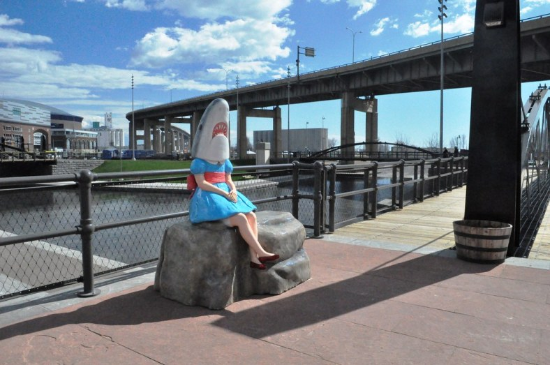 Shark Girl Statue at Canalside in Buffal, N.Y., May 1, 2015