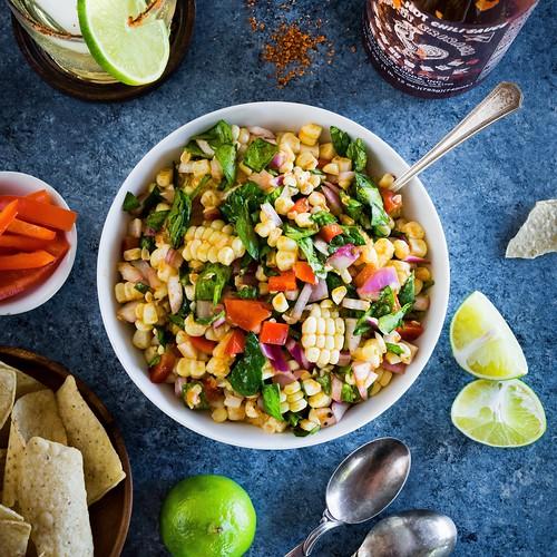 easy corn salad with sriracha and lime