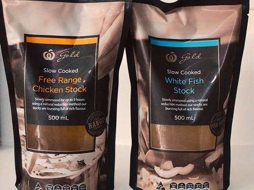 Woolworths free range chicken stock, white fish stock