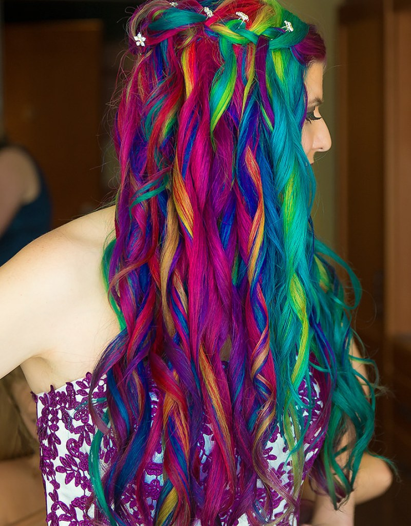 Mohawk meets rainbow hair wedding from @offbeatbride