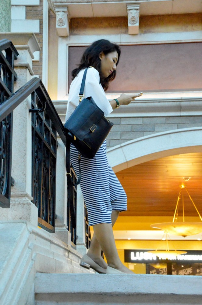 Macau, The Venetian Macau, outfit, travel, charles and keith backpack, striped culottes, pink metallic flats