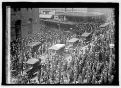 Crowd Blocks Scab Streetcar During Transit Strike: 1917