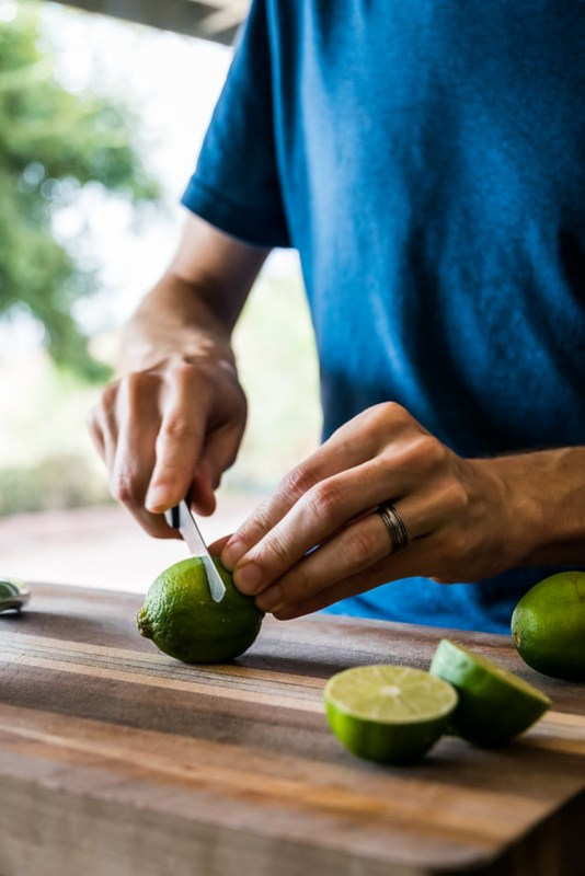 slicing limes in half
