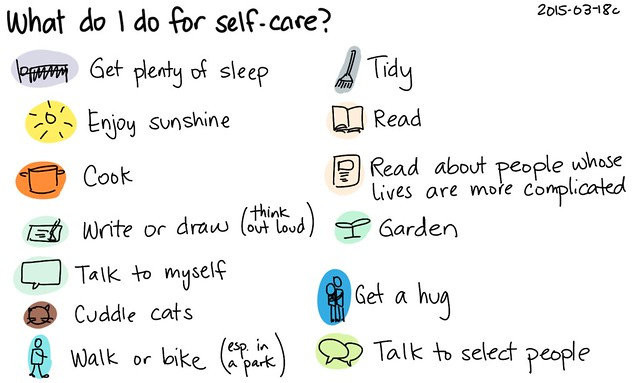 2015-03-18c What do I do for self-care -- index card #self-care #happiness #comfort