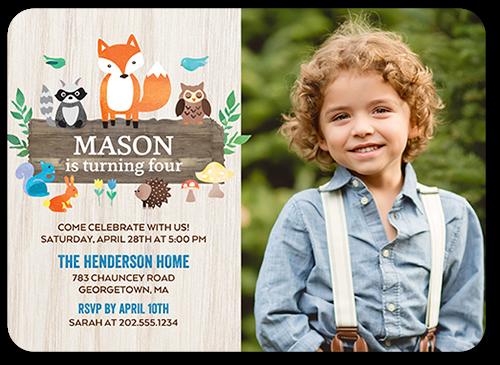 boy happy birthday invitation card