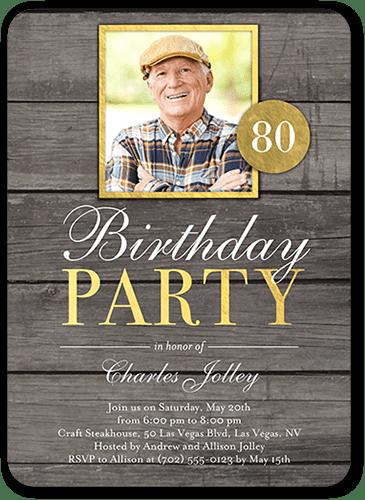 classic woodgrain birthday invitation shutterfly