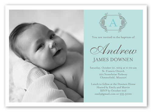 Vintage Monogram Boy 5x7 Invitation Baptism Invitations