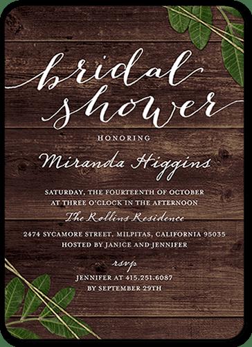 Leafy Frame 5x7 Stationery Bridal Shower Invitations