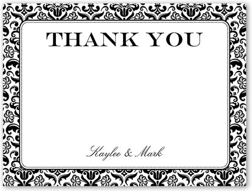 Classic Damask Border 4x5 Wedding Thank You Card Shutterfly