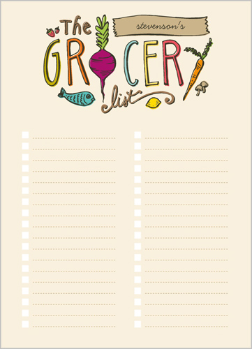 The Grocery List 5x7 Notepad Custom Notepads Shutterfly