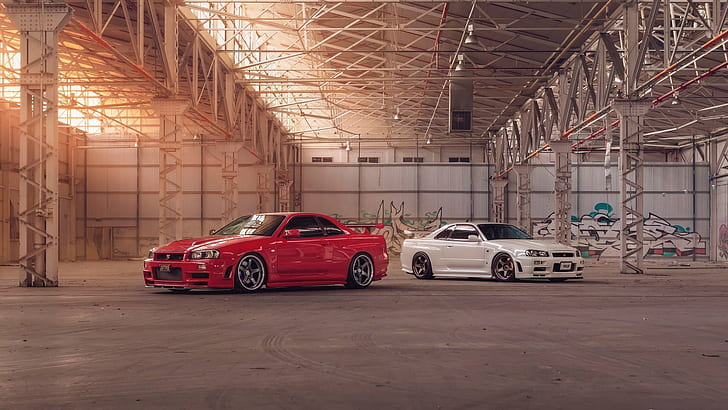 The 1960s were a great time for motoring. Hd Wallpaper Nissan Skyline Gt R R34 Japanese Cars Jdm Red Cars White Cars Wallpaper Flare
