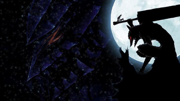 Hd Wallpaper Berserk Anime Cool Badass Silhouette One Person Nature Wallpaper Flare