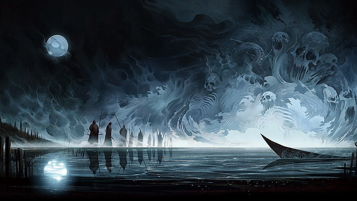 HD wallpaper: The River Styx wallpaper, abstract, death, boat, skull, Moon  | Wallpaper Flare