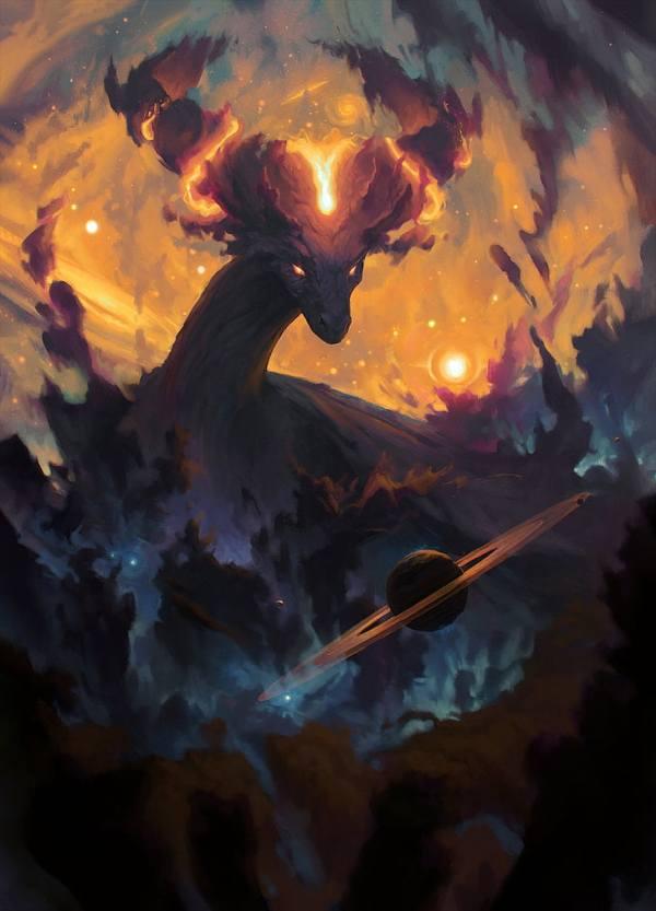 HD wallpaper: dragon, fantasy art, nebula, stars, planet ...