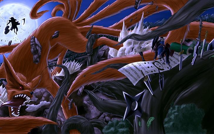 Hd Wallpaper Trees Night Moon Fight Naruto Shippuden Kyuubi Kunai Manga Hashirama Senju Shuriken Ninja Scroll Uc Anime Naruto Hd Art Wallpaper Flare