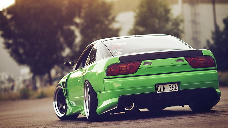 There are 67 luxury cars desktop. Hd Wallpaper Green Sports Coupe Nissan 240sx Jdm Car Stance Green Cars Wallpaper Flare