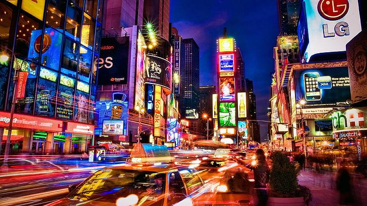 hd wallpaper times square city lights