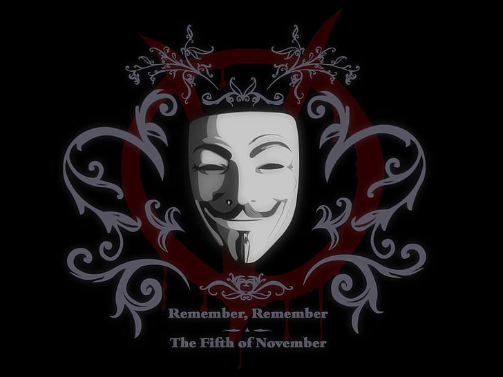 Hd Wallpaper V For Vendetta Hd Guy Falkes With Remember Remember The Fifth Of November Text Wallpaper Flare