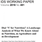 Dial 'N' for Nutrition? A Landscape Analysis of What We Know About m-Nutrition, m-Agriculture and m-Development (IDS Working Paper 481, 2017)