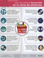 Tres afiches referidos a bioseguridad, comprasolidariaycuidadossanitarios  en la producción de alimentos