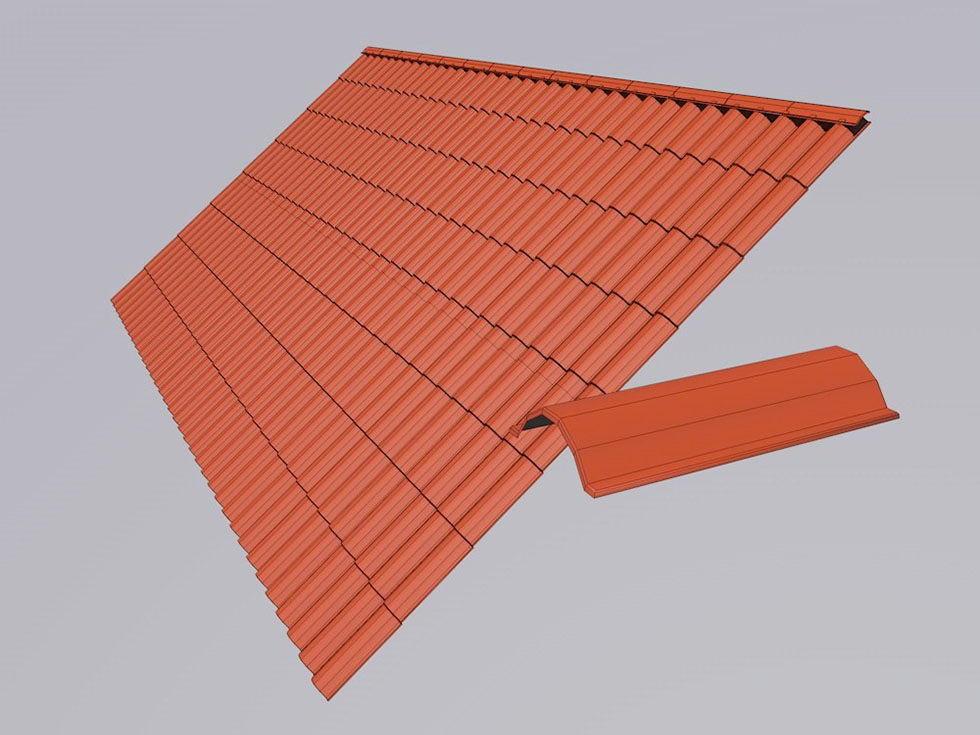 Red Roof Tile 3D Model - Free C4D Models on Tile Models  id=78644