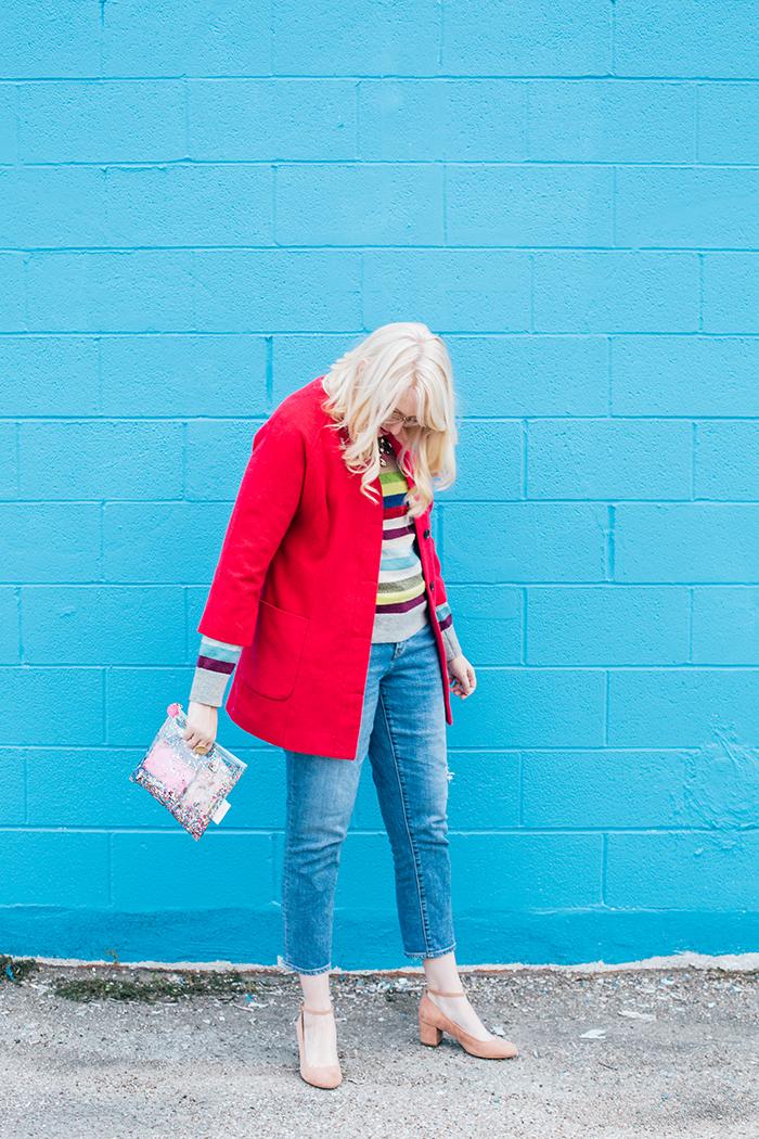 writes like a girl pink coat rainbow gap sweater5