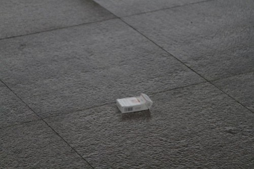 Abandoned cigarette packet following a quick station stop at Xinxiang East