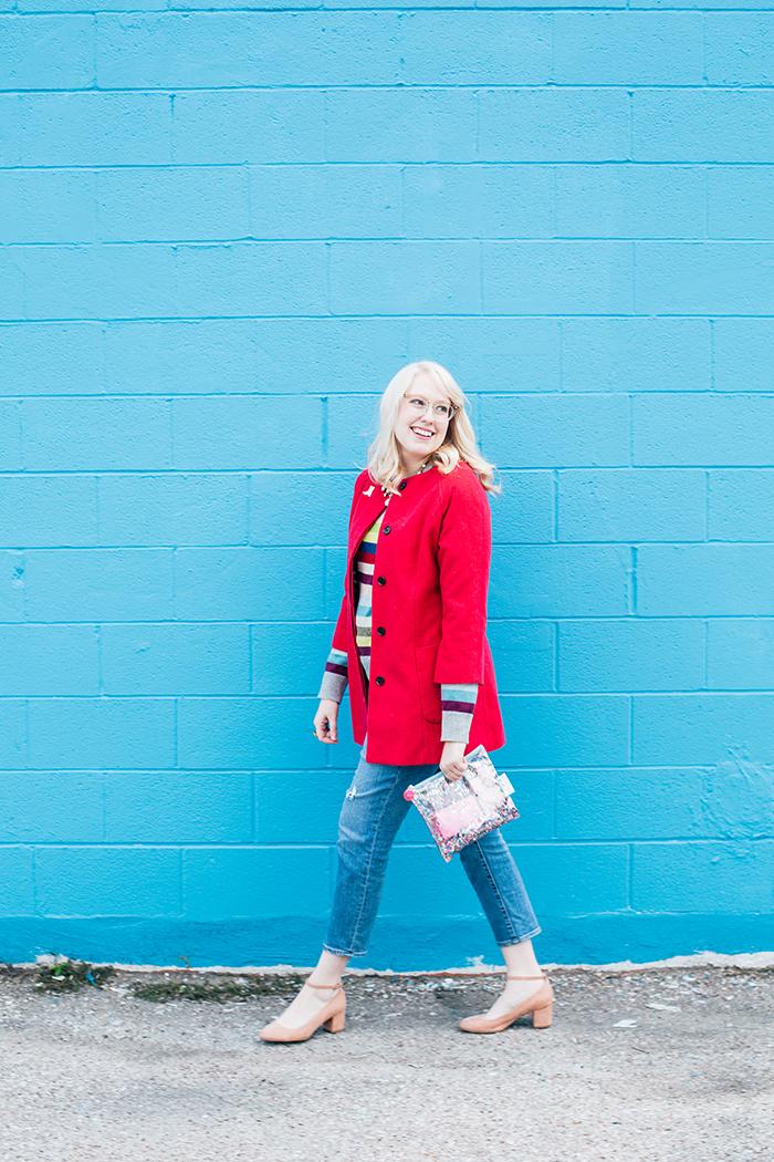 writes like a girl pink coat rainbow gap sweater1