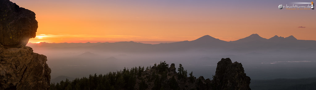 Cascade summits at sunset