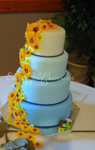Sunflowers On Blue Wedding Cake Gum Paste Sunflowers