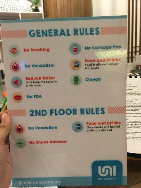 General Rules at Uni Lounge