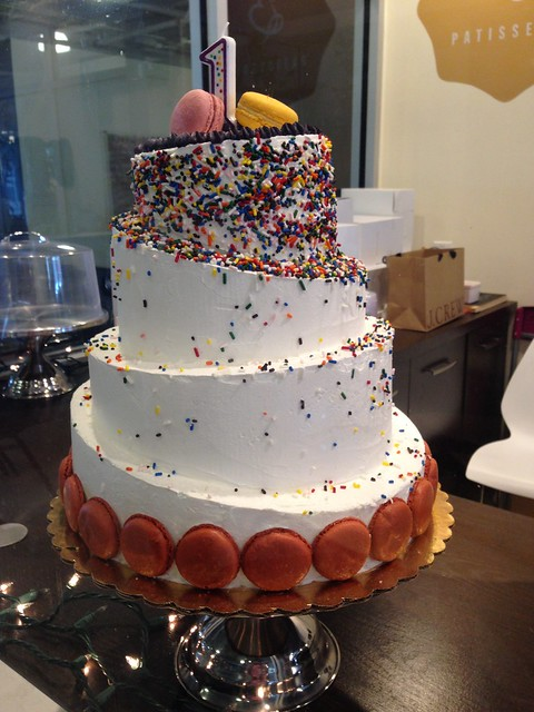 Sprinkle Cake with Macarons at La Brioche Bakery, Jackson MS