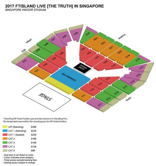 FTISLAND Live [THE TRUTH] in Singapore 2017Seating Plan