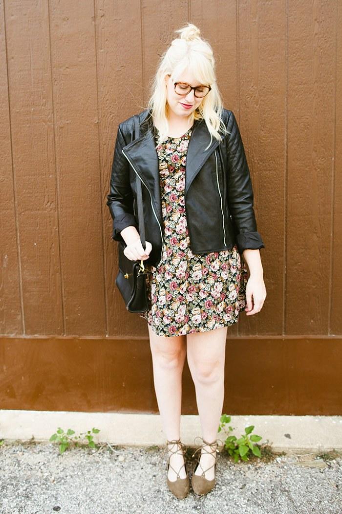 writes like a girl vintage floral dress bb dakota pierre moto jacket6