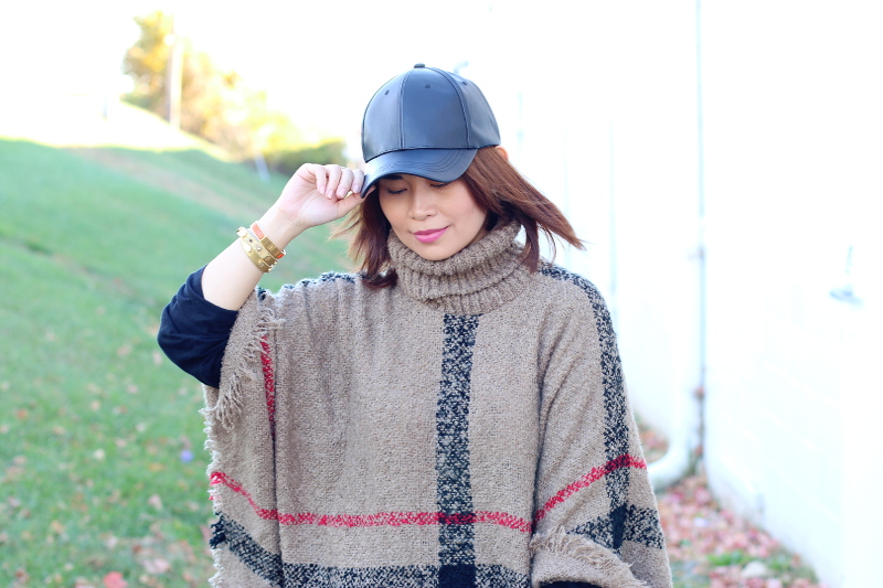 plaid-poncho-faux-leather-cap-5