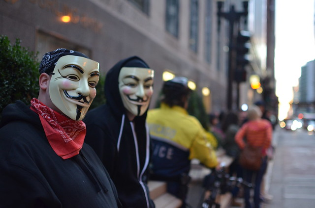 Occupy Chicago Protesters Wearing Guy Fawkes Masks