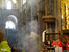 The famous Botafumeiro mass in the Cathedral of Santiago de Compostela.