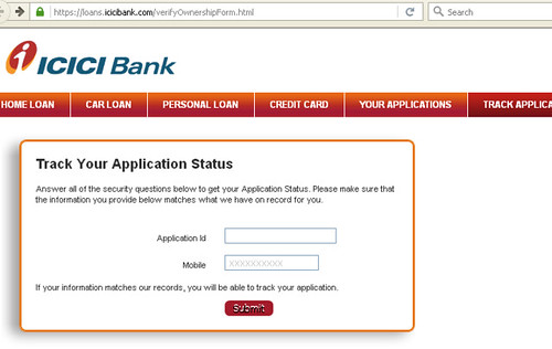 Track Icici Bank Personal Loan Application Status