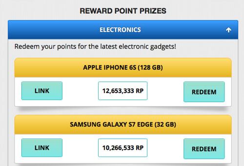 Reward point prizes - freebitcoin -zonadolares
