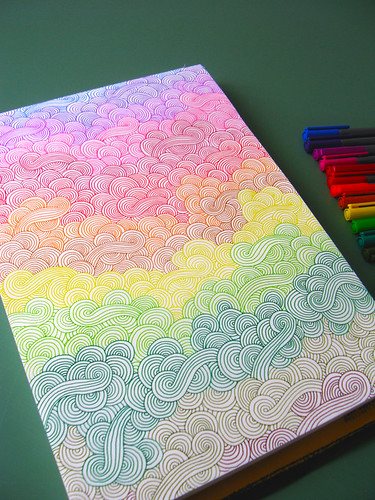 rainbow doodles   doodling that requires no thought, quite ...