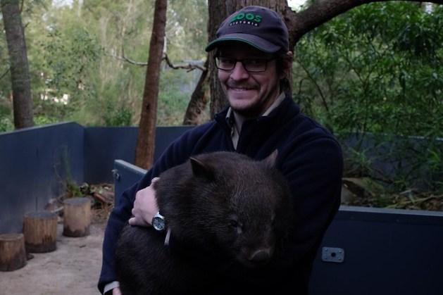 Wombat i jego opiekun