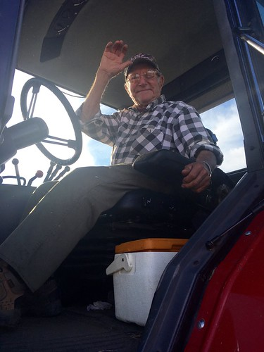 Grandpa Hiladore running grain cart. Isn't he the cutest?!
