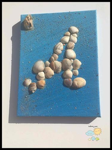 Cuadros de letras con conchas