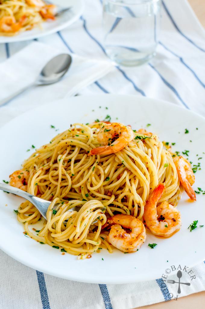 Spaghetti Aglio e Olio with Prawns/Shrimps