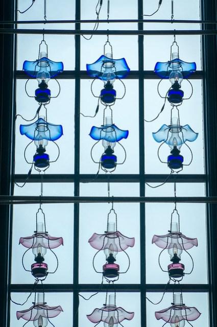 Glass lamps as decoration inside JR Otaru station