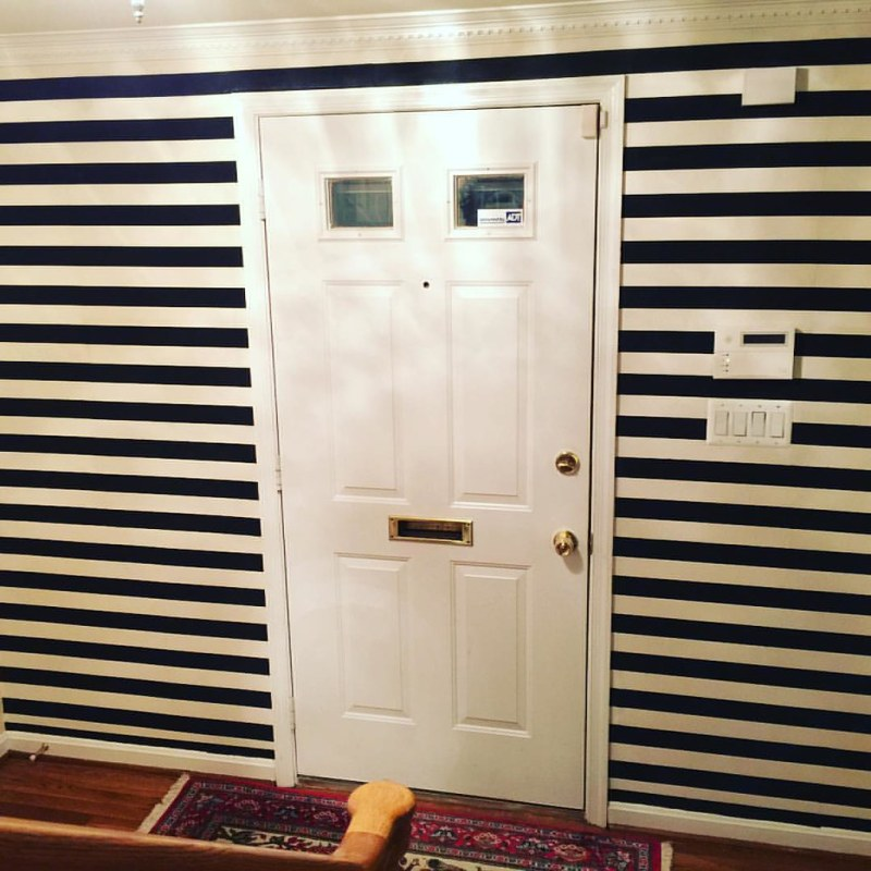 Had some fabric laying around that I just couldn't pair with any furniture I was re-doing. Viola! It looks amazing as wallpaper. Horizontal was better than vertical. #beetlejuice #gothhome #acreativedc #beforeandafter #MadeinDC